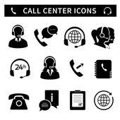 Call center service icons set — Stock Vector