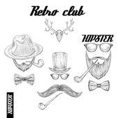 Retro hipster club accessories — Stock Vector