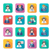 Medicine Doctors and Nurses Icons Set — Stock Vector
