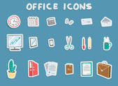 Business Office Sticker Icons Set — Stock Vector