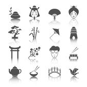Japanese culture icons set — Stock Vector