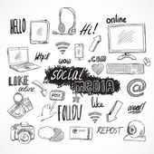 Doodle social media icons set — Stock Vector