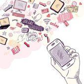 手拿着手机与社交媒体应用程序 — 图库矢量图片