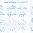 Постер, плакат: Weather forecast pictograms set