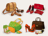 Collection of women bags shoes and accessories — Stock Vector