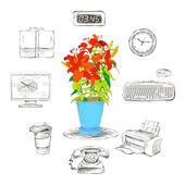 Suministros de papelería de oficina conjunto de iconos — Vector de stock