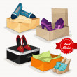 Fashion collection of woman's shoes — Stock Vector