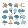 Doodle weather forecast design elements — Stock Vector #42744697