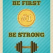 Постер, плакат: Fitness strength exercise motivation poster