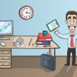 Business man character in office interior — Stock Vector