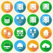 Hosting Technology Icons Set — Stock Vector
