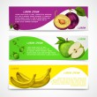Mixed fruits banners collection — Stock Vector