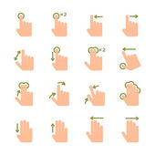 Hand touch gestures icons set — Stock Vector