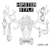 Hand drawn hipster style accessory set — Cтоковый вектор