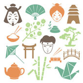 Japanese culture design elements collection — Stock Vector
