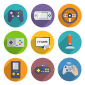 Set de iconos de controlador de video juegos — Vector de stock