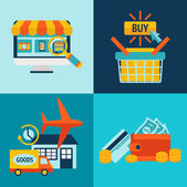 Online Shopping Business Icons Set — Stock Vector