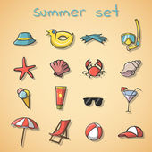 Summer vacation travel icons set — Stock Vector