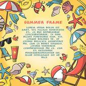 Summer vacation travel border frame template — Stock Vector