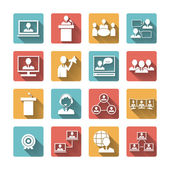 Business People Meeting Icons Set — Stock Vector