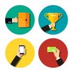 Business Hands Flat Icons Set — Stok Vektör