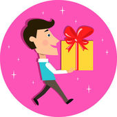 Young man carrying present gift box — Stock Vector