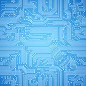 Circuit board seamless blue pattern — Stock Vector