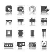 Computer circuit icons set — Stockvektor