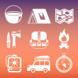 Outdoors camping pictograms collection — Stockvektor