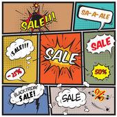Comic best offer sale promotion bubbles — Stock Vector