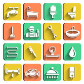 Plumbing Tools Icons Set — Stock Vector