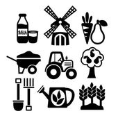 Farming harvesting and agriculture icons set — Stock Vector