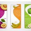 Mixed organic fruits banners collection — Stock Vector