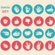 Hands gestures flat icons set — Stock Vector #43278135