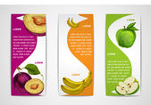 Mixed organic fruits banners collection — Stok Vektör