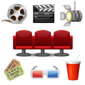 Ícones decorativos do cinema entretenimento — Vetor de Stock