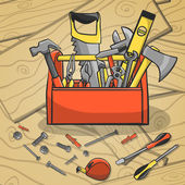 Working toolbox and instruments kit — Stock Vector