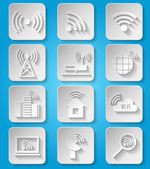 Wireless communication network icons set — Stock Vector