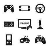 Video Games Controller Icons Set — Stock Vector