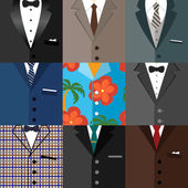 Business decorative icons set of suits — Stok Vektör