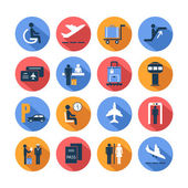 Colored airport icons set — Stock Vector