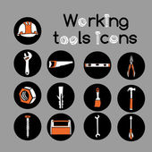 Carpenter Working Tools Icons Set — Wektor stockowy