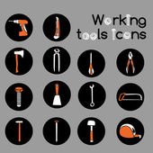 Carpenter Working Tools Icons Set — Stock Vector