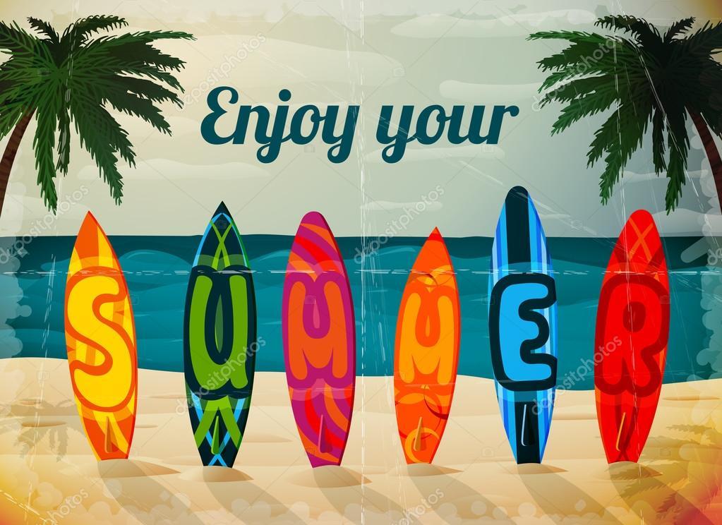 Cartel de tabla de surf de vacaciones verano vector de - Tavole da surf drift ...
