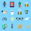 Business flat icons set — Stock Vector