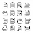 Documents files and folders icons set — Stock Vector
