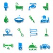 Plumbing tools sticker collection — Stock Vector #43393863