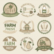 Farming harvesting and agriculture labels — Stock Vector