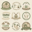 Farming harvesting and agriculture labels — Stock Vector #43393967