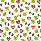 Fitness symbols seamless pattern — Stock Vector